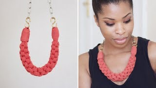 This was my first go at making the necklace and I do hope you have a go too! Thumbs up for more DIY Videos! :D Tools Jersey Fabric (0.25m x 0.75m) Chains (...