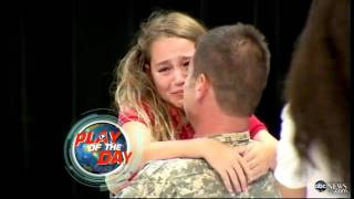 A young girl gets a special surprise after spelling 'Sergeant' at a spelling bee, cries when her father appears onstage. For more on this story, click here: ...