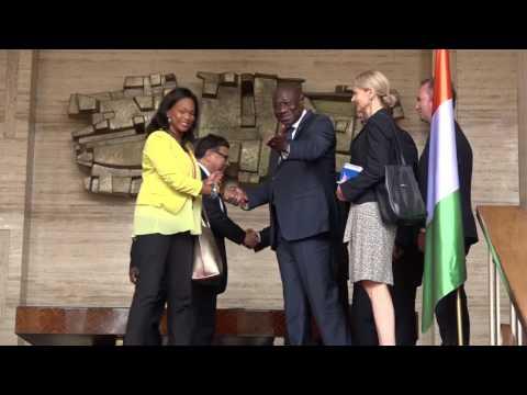 COTE D'IVOIRE : Le Chef de l'Etat échange avec Mr Jean Baptiste LEMOYNE et  Mme Laura Fessel, Ministre des Sport de France