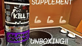 Unboxing of some Cellucor's Alpha Aminos (BCAA) and Rich Piana's Pre Workout KILL IT!