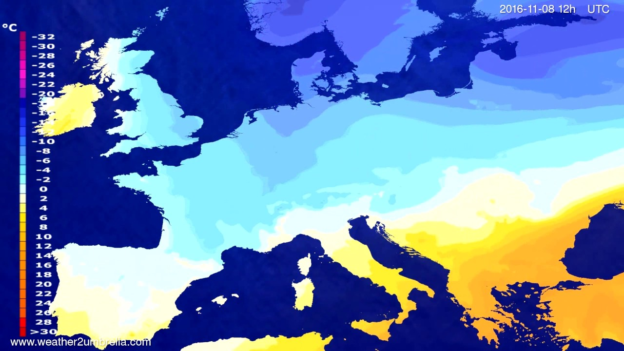 Temperature forecast Europe 2016-11-06