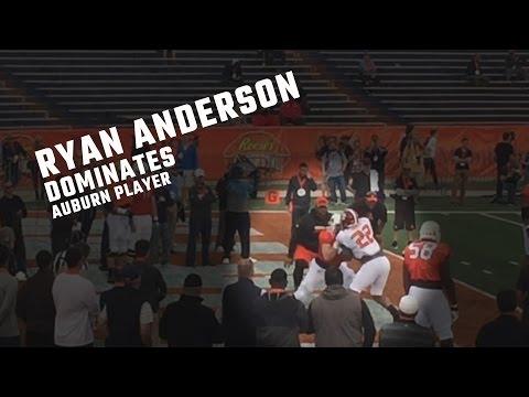 Watch Alabama's Ryan Anderson dominate Auburn's Robert Leff in practice drill at Senior Bowl