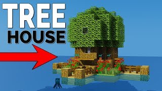 How To Make A Starter TreeHouse - Easy & Compact Tiny Minecraft House Tutorial