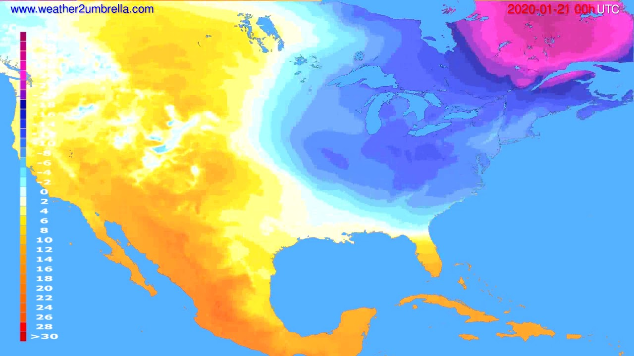 Temperature forecast USA & Canada // modelrun: 00h UTC 2020-01-20