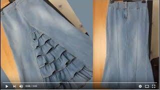Как сшить юбку из джинсов. Мастер класс. Сайт