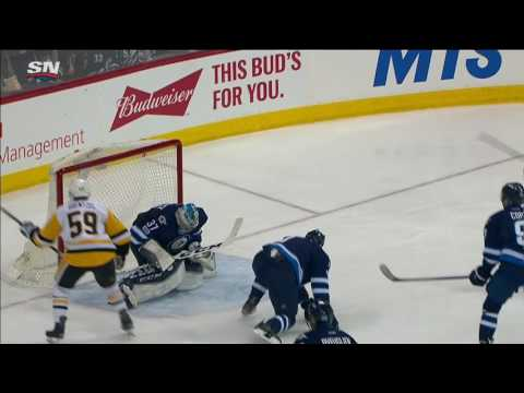 Video: Penguins chase Hellebuyck with three goals in 57 seconds