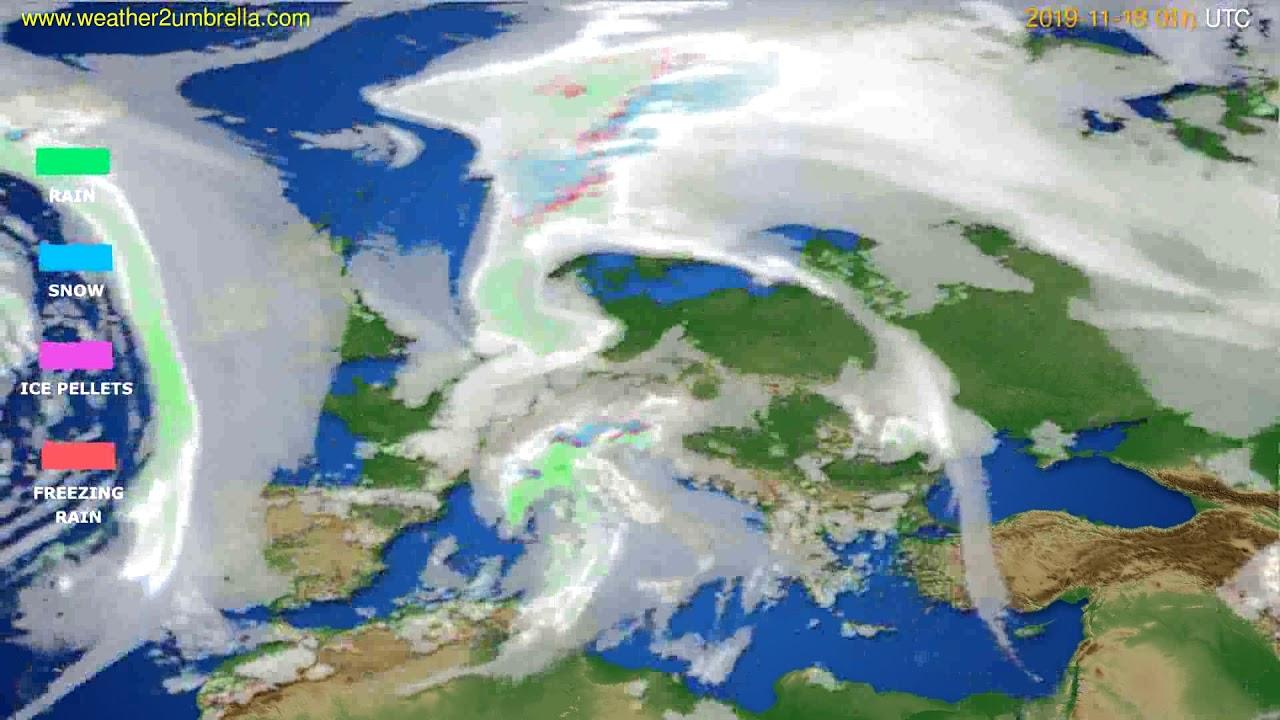 Precipitation forecast Europe // modelrun: 00h UTC 2019-11-18
