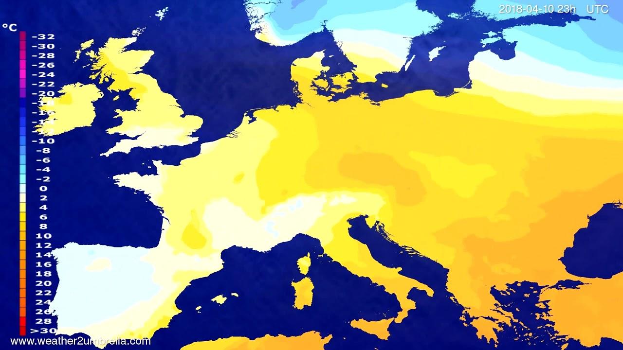 Temperature forecast Europe 2018-04-07