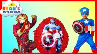 GIANT EGG SURPRISE OPENING Captain America Civil War and Iron Man from The Avengers