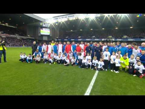 tribute - Fernando Ricksen is welcomed on to the Ibrox turf to kick off his tribute match.