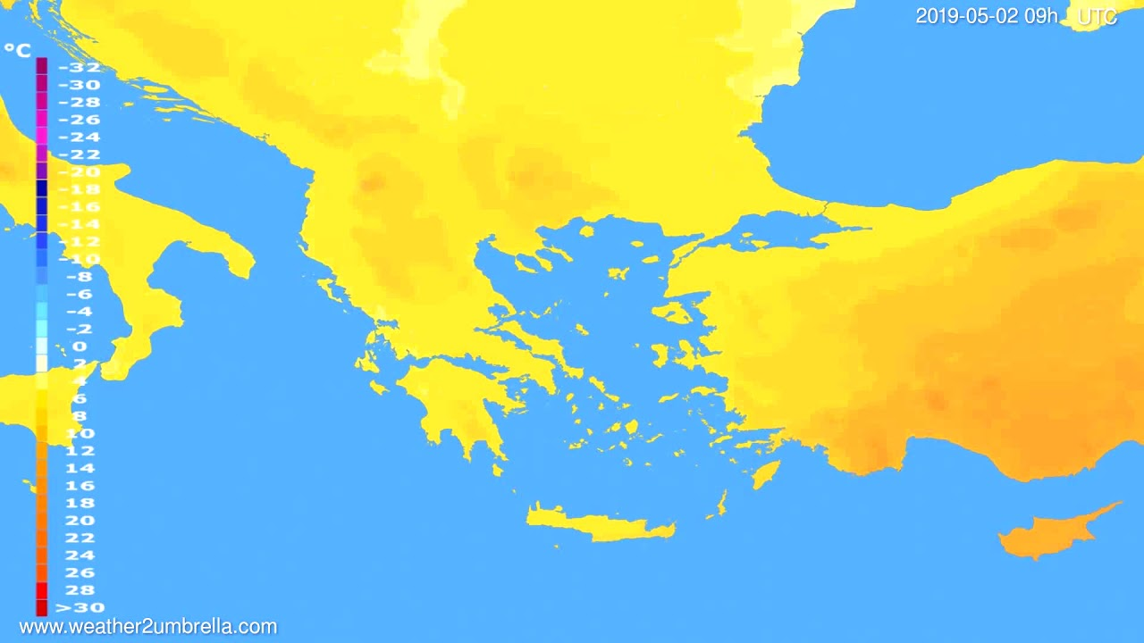 Temperature forecast Greece // modelrun: 12h UTC 2019-04-30