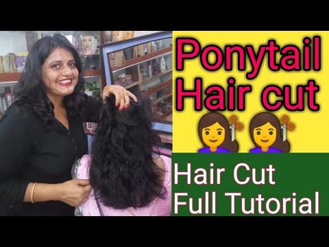 Short haircuts - Ponytail Hair Cut in long  to short hair/Very easy method to cut layers /Full Tutorial Multi hair
