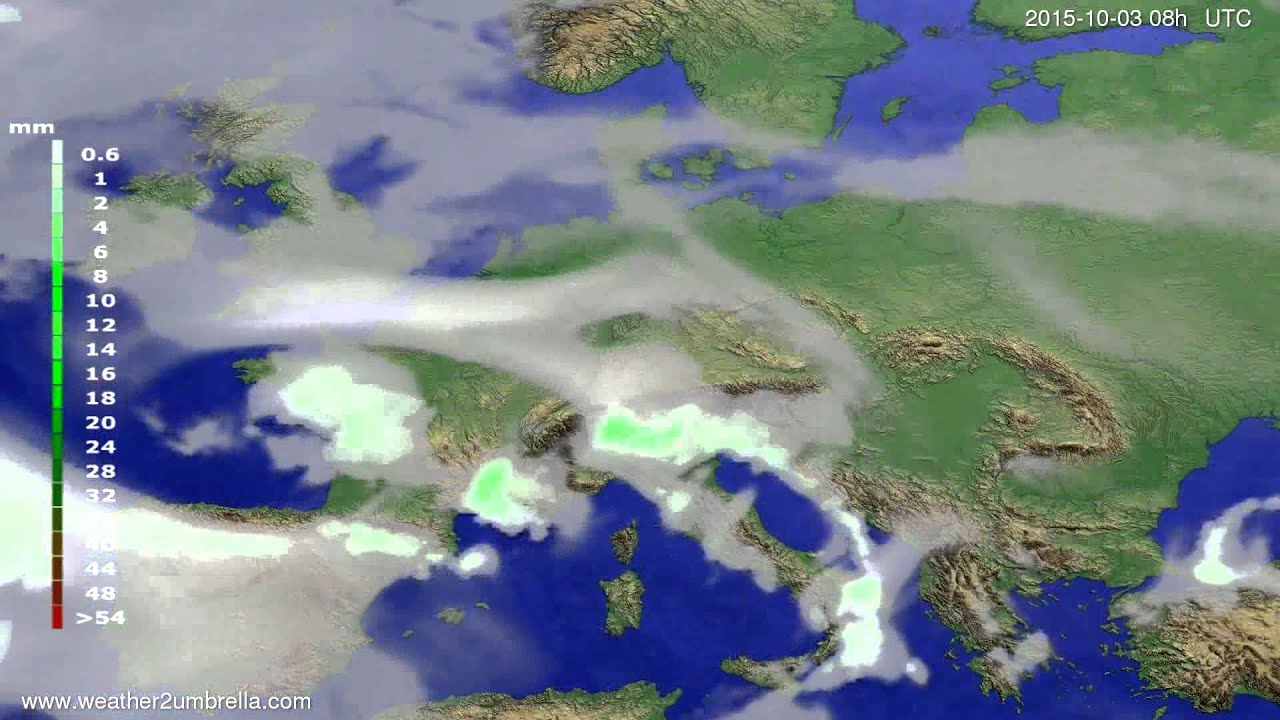 Precipitation forecast Europe 2015-09-29