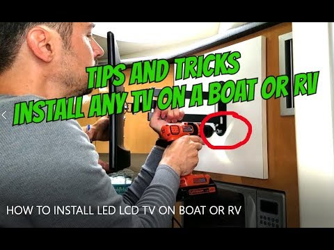 HOW TO INSTALL LED LCD TV ON MOUNT IN A BOAT / RV without 12v TV (видео)