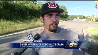 Driver wanted for crashing into 7 cars parked at McDonald'sSubscribe to WLWT on YouTube now for more: http://bit.ly/1ipUX3cGet more Cincinnati news: http://wlwt.comLike us: http://facebook.com/wlwt5Follow us: http://twitter.com/WLWTGoogle+: https://plus.google.com/+wlwt
