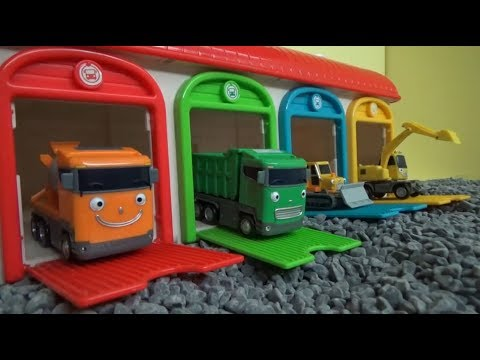 Tayo The Little Bus Heavy-duty friends and garage on gravel! Toys play 꼬마버스 타요 중장비 장난감 차고지 놀이