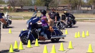 6. Female riding a 2014 Indian Chieftain Motorcycle