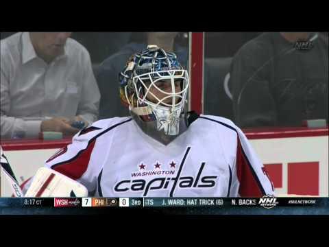 Line brawl, goalie fight in 3rd Washington Capitals vs Philadelphia Flyers 11/1/13 NHL Hockey.