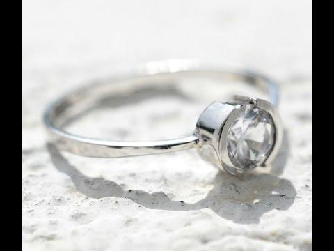 Bezel set Round Natural Ceylon White Sapphire Ring in 18K White Gold