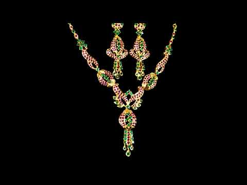 Fine Yellow Gold Ruby and Emerald Necklace with Matching Earrings and Ring Set, Stamped 22k
