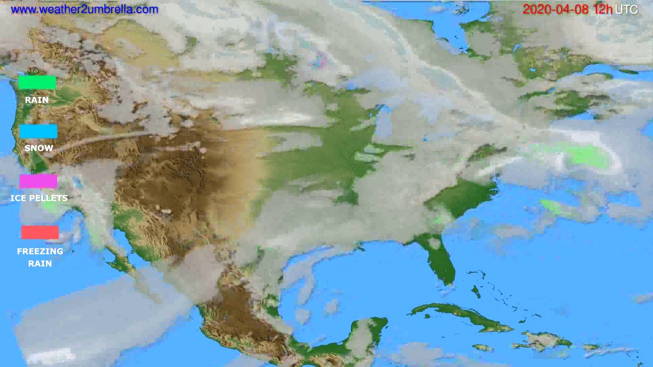 Precipitation forecast USA & Canada // modelrun: 00h UTC 2020-04-08