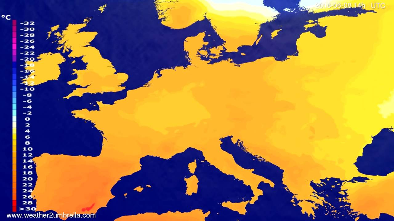 Temperature forecast Europe 2016-06-04