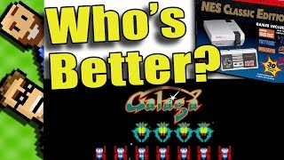 """Welcome to The Basement, let's find out who's better at Galaga on the NES Classic! The Basement is the friendliest place on YouTube!https://www.youtube.com/c/TheBasementGamesIn today's video, we try out Galaga on the NES Classic to see WHO IS BETTER. Will Peter prevail? Will Ted triumph? Come downstairs and have a seat with us on the couch right here in The Basement - the friendliest place on YouTube!Please enjoy this review of Galaga by Damien McFerran over at NintendoLife (http://www.nintendolife.com/reviews/vc/galaga_nes)The NES version of Galaga is a almost perfect port of the timeless arcade classic. Like space invaders you control a ship at the bottom of the screen and blast away at oncoming enemies. The enemies in Galaga first fly in and line up in formation and then dive-bomb at you while firing sometimes in predictable patterns and sometimes not.Levels get progressively more difficult as you would expect. However you can allow certain enemies to capture your ship. Once captured, your ship is held hostage until you destroy the enemy holding it. The ship is then returned to you and joins up with your existing ship to double your firepower! This adds to the depth of the game, it is not without risk as you can inadvertently destroy your own ship trying to do this!Every 3-5 levels, Galaga offers a fun """"Challenging Stage"""" in which players attempt to blast 30/30 non-attacking enemies that fly around the screen in unusual formations. The player is rewarded with points for each enemy they destroy. A perfect 30/30 gets you additional bonus points. These challenging stages offer a nice break from the stress of a typical stage and add greatly to Galaga's charm.CONCLUSIONThis is a fun little game, especially with the rose tinted spectacles of nostalgia firmly in place over the eyes. Little things such as the lack of record saving features, slow controls, and just a generic simplistic feel keep it from being legendary. However, if you have a penchant for old arcade gems,"""