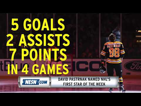 Video: David Pastrnak named NHL's first star of the week