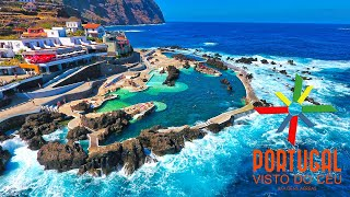 porto moniz, natural swimming pool, sky, drone view, madeira, madeira island, ilha da madeira