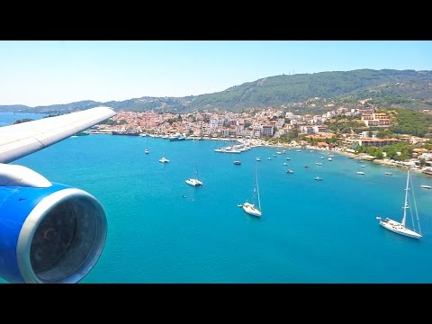 Thomas Cook Boeing 757 G-FCLI Beautiful Landing at Skiathos Airport [1080p HD]