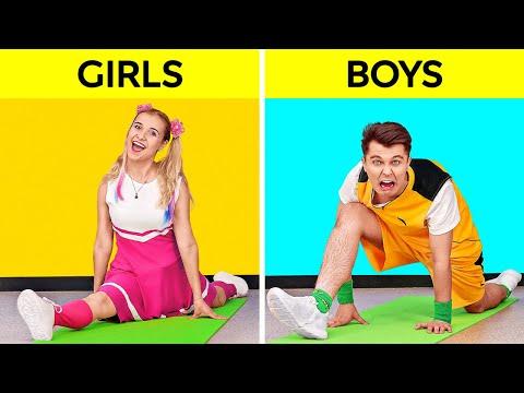 PRO VS NOOB GYMNASTICS! IMPOSSIBLE ACROBATICS Challenge! 24 Hours Body Tricks by 123 GO! SCHOOL