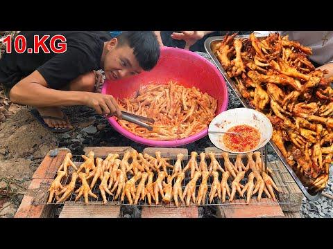 Nướng 10.KG Chân Gà Siêu Cay ( Grilled chicken feet 10.KG ) - Thời lượng: 10:57.