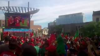 Portugal wins over France at the Euro 2016 at Brampton Garden Square