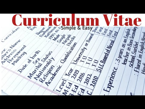 Curriculum vitae for job/ How to write good bio-data/ Resume/ Printed english handwriting/ Eng Teach