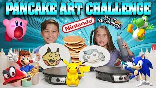 PANCAKE ART CHALLENGE - NINTENDO EDITION!!! Super Smash Bros., Super Mario Odyssey, Pokemon, Sonic!