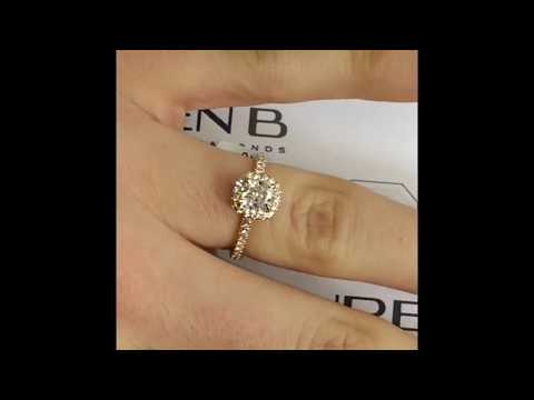 0.81 Ct Cushion Diamond Ring In Rose Gold Halo