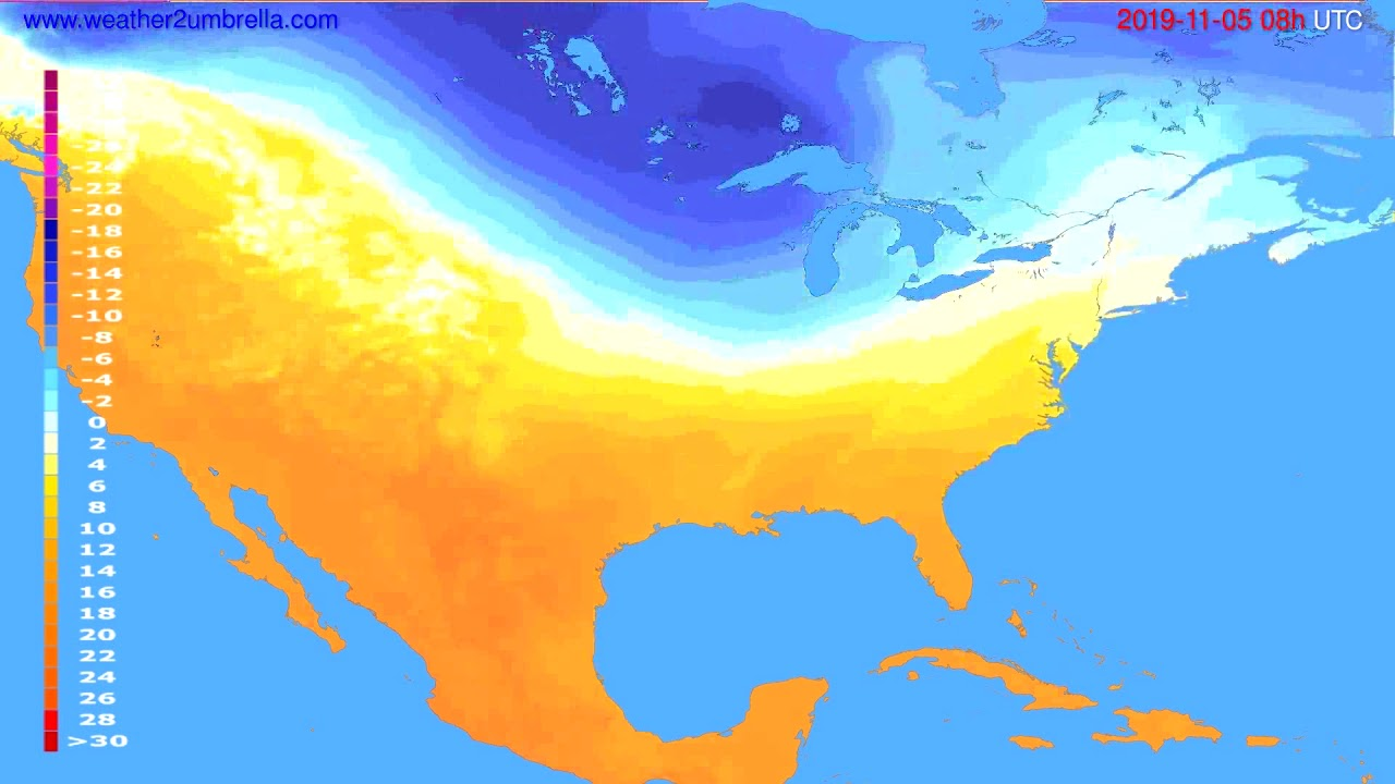 Temperature forecast USA & Canada // modelrun: 00h UTC 2019-11-04