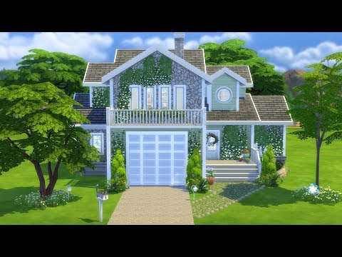 The Sims 4: Speed Build // CUTE FAMILY HOUSE WITH GARAGE // NO CC
