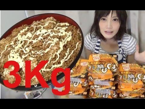 大家都記得這個挑戰一百個漢堡的美少女吧?這次她要挑戰3公斤的泡麵!