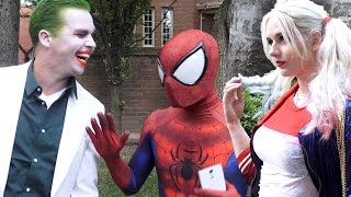 Video SPIDER-MAN meets HARLEY QUINN & THE JOKER - Superhero Dating in Real Life - TheSeanWardShow MP3, 3GP, MP4, WEBM, AVI, FLV Agustus 2018