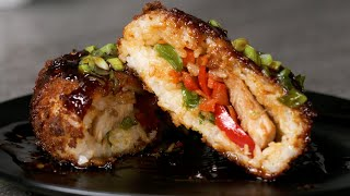 Crispy Chicken Teriyaki Rice Balls by Tasty