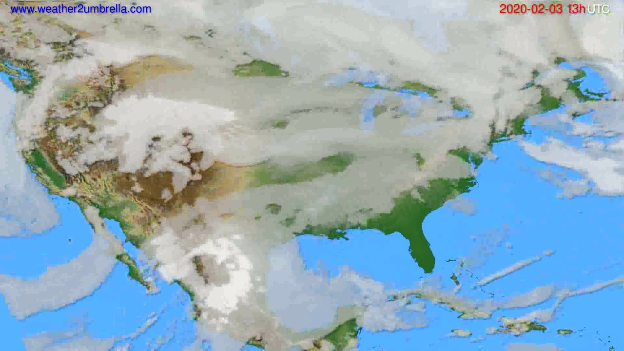 Cloud forecast USA & Canada // modelrun: 12h UTC 2020-02-02