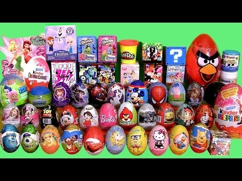 Huge 55 SURPRISE EGGS + BOXES Play-Doh Frozen MLP Minecraft Cars2 Frozen Mystery Minis Transformers