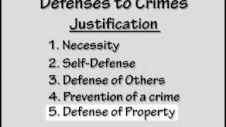Crim Law  #4:Defenses To Crimes  Justification, Excuse, Mitigation Part 1 Of 3