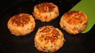 Canned salmon makes for a quick and healthy dinner. Jenny Jones shares her simple recipe for salmon patties made with whole wheat bread crumbs, red pepper, parsley & onion. This easy recipe takes minutes to make. (PRINTABLE RECIPE: http://www.jennycancook.com/recipes/salmon-patties/)MORE VIDEOS: http://www.youtube.com/user/jennyjonesvideosSHARE: Here is a link to share Jenny's Salmon Patties video: http://youtu.be/6FbZlYpdP78SUBSCRIBE: Cooks are loving Jenny's easy, fun videos. Use think link to subscribe: http://www.youtube.com/subscription_center?add_user=jennyjonesvideosALL OF JENNY'S RECIPES: http://www.JennyCanCook.comYOU MIGHT LIKE:Spaghetti & Meatballs - http://youtu.be/XAHNVoKV1BcNo Knead Crusty Rolls - http://youtu.be/2GQSJ4ZMnBcFall-Off-The-Bone BBQ Ribs - http://youtu.be/5RJygAU7uNQPotato Gnocchi - http://youtu.be/EzLxMcJBc20Cinnamon-Raisin Bread - http://youtu.be/kcPsaVuhQXYMore on Jenny: http://www.JennyJones.comPinterest: http://www.pinterest.com/jennycancook/Twitter: https://twitter.com/jennyskitchenFacebook: https://www.facebook.com/JennysHealthyHomeCookingInstagram: https://instagram.com/jennycancook/© Copyright 2015 - Jenny Can Cook - Jenny Jones