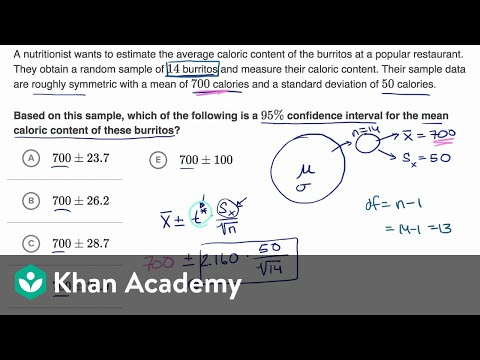 Example Constructing A T Interval For A Mean Video Khan