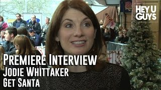 Jodie Whittaker is interviewed at the Premiere of his movie Get Santa in London. Get Santa has a great cast which includes Jim Broadbent, Rafe Spall, Warwick ...