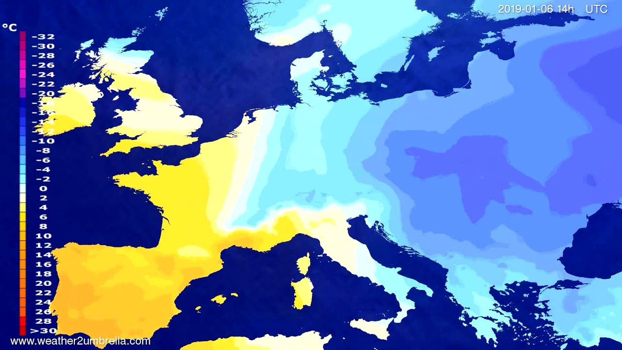 Temperature forecast Europe 2019-01-02