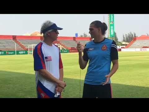 The representative of U S  Embassy Phnom Penh with Jonny Campbell  Player PPCFC