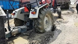 Swaraj 855 Stuck In Mud With Load | Swaraj 855 And Sonalika 60 Pulling Swaraj 855 Tractor